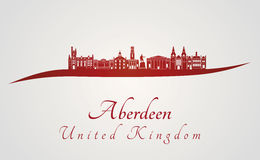 Aberdeen skyline in red. And gray background in editable vector file royalty free illustration