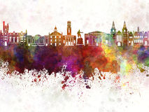 Aberdeen skyline in watercolor background Stock Photo