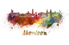 Aberdeen skyline in watercolor Royalty Free Stock Image