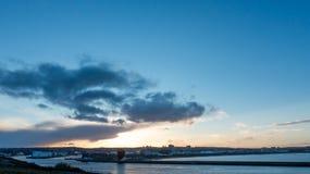 Aberdeen stadshamn under solnedgång Royaltyfri Foto