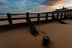 Aberdeen strandsolnedgång Royaltyfri Bild