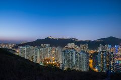 Aberdeen Typhoon Shelters view at Yuk Kwai Shan (mount Johnston) in sunset time Stock Photo