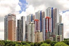 Aberdeens färgrika höghuslägenheter i Hong Kong Fotografering för Bildbyråer