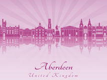 Aberdenn skyline in purple radiant orchid Royalty Free Stock Images