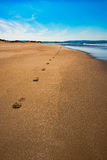 Aberdovey Aberdyfi Wales Snowdonia UK vast beautiful seascape holiday destination footprints on the sand nostalgic concept Royalty Free Stock Photo