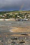 Aberdovey mit Regenbogen Stockfoto