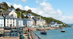 Aberdyfi, Wales, with crab nets in foreground royalty free stock images