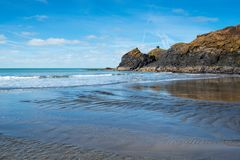 Abereiddy strand Arkivfoton