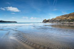 Abereiddystrand in Wales Stock Foto's
