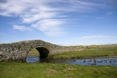 Aberffraw. And its very old cart bridge over the Hen River Isle of Anglesey Stock Photo