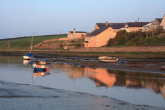 Aberffraw Village. And esturary at low tide Stock Photography