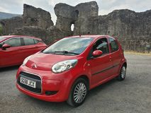 Abergavenny Castle. With car inside castle grounds Royalty Free Stock Photo