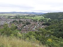 Abergele village, town surrounded by countryside with mountainous background, north Wales British Village royalty free stock photos