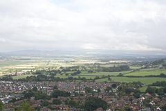 Abergele Village, town surrounded by countryside with mountainous background, Welsh Village in the countryside stock photography