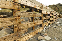Aberiddy Beach, remains of sea defences. Stock Images