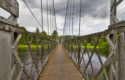 Aberlour, the Penny Brig. This is footbridge, known as the penny Brig, which crosses the river Spey at Aberlour, Moray, Scotland stock photos