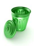 Aberto e esvazie o escaninho de lixo verde sobre um branco ilustração do vetor