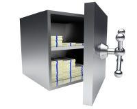 Aberto excepto o vault completamente do dinheiro isolado no branco Ilustração Stock