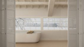 Abertura branca da porta de dobradura no banheiro escandinavo, sótão com banheira, design de interiores branco, conceito do desen imagem de stock royalty free