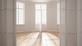 Abertura branca da porta de dobradura no espaço vazio escandinavo moderno com janelas panorâmicos, design de interiores branco, d fotos de stock royalty free