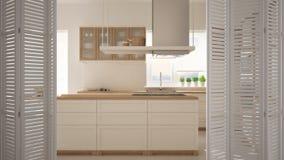 Abertura branca na cozinha minimalista moderna com ilha, design de interiores branco da porta de dobradura, conceito do desenhist imagem de stock royalty free