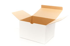 Abertura da caixa branca Imagens de Stock