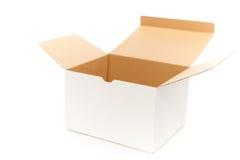 Abertura da caixa branca Fotografia de Stock