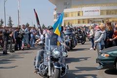 Abertura da estação da motocicleta em Kyiv Fotos de Stock Royalty Free