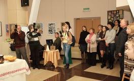Abertura de la exposición dedicada a la celebración de Pascua Fotos de archivo libres de regalías