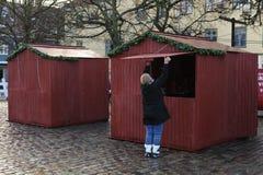 Abertura del mercado de la Navidad imagen de archivo
