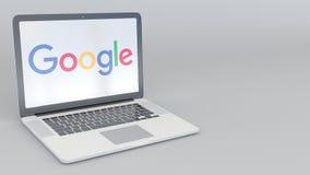 Abertura giratoria y ordenador portátil cerrado con el logotipo de Google Clip conceptual del editorial 4K de la informática stock de ilustración
