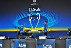Abertura na zona do fã de Kyiv do UEFA da liga dos campeões imagens de stock royalty free