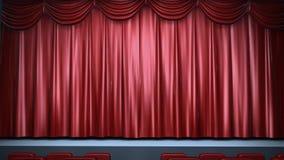 Abertura vermelha da cortina da fase ilustração stock
