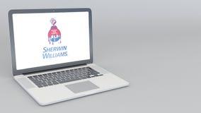 Abertura y ordenador portátil de cierre con el logotipo de Sherwin Williams animación del editorial 4K ilustración del vector