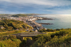 Aberystwyth from Above. There are magnificent views from the top of Constitution Hill, near Aberystwyth in Wales, UK Royalty Free Stock Image