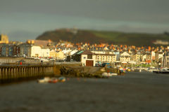 Aberystwyth harbour tilt and shift. Tilt and shift photograph of Aberystwyth harbour in Wales Stock Photos