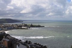 Aberystwyth i morze fotografia royalty free