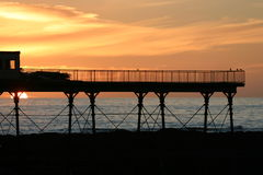 Aberystwyth pier at sunset Stock Photos