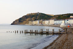 Aberystwyth's Constitution Hill from the promenade. Aberystwyth promenade shot with Constitution Hill visible in the distance royalty free stock photo