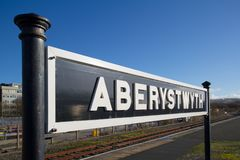 Aberystwyth station sign Royalty Free Stock Images