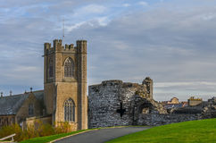 Church and castle in Aberystwyth, Wales Royalty Free Stock Images