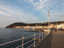 Aberystwyth Wales UK. Sunset on Aberystwyth seafront in Wales UK royalty free stock images