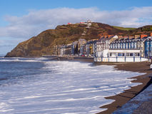 Aberystwyth, Wales. View of Aberystwyth on the Ceredigion coast, Wales, looking towards constitution hill after the storms of January 2014 stock photo