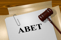 Abet - legal concept. 3D illustration of ABET title on legal document vector illustration