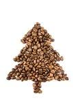 Abete dai chicchi di caffè isolati su bianco Fotografia Stock