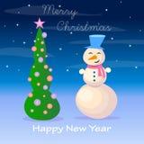 Abete di Natale e del pupazzo di neve, illustrazione Immagini Stock Libere da Diritti
