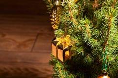 Abete rosso con la decorazione dorata Fotografie Stock