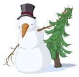 Abete rosso del pupazzo di neve, colorato Immagine Stock