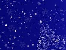 Abete rosso e fiocco di neve di scena royalty illustrazione gratis
