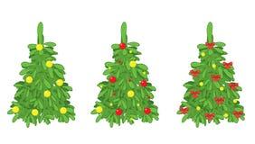 Abeti verdi con le decorazioni di natale Royalty Illustrazione gratis